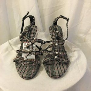 ZARA Pearly Plaid Strappy Ankle Strap Heels  NWT 8